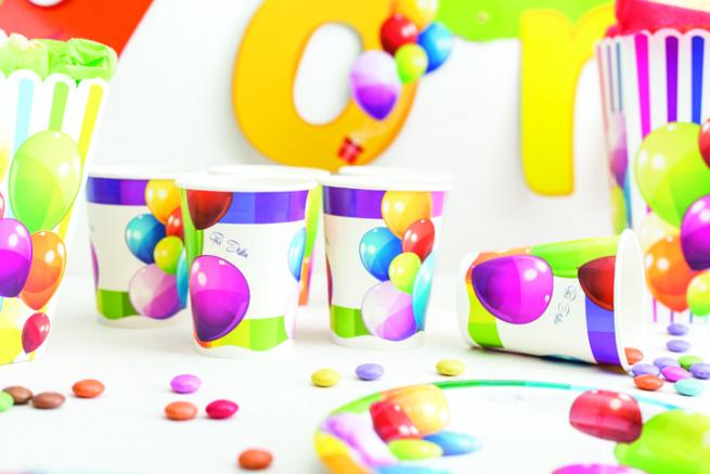 Bicchiere cartoncino 250cc fantasia palloncini, confezione da 8 pezzi