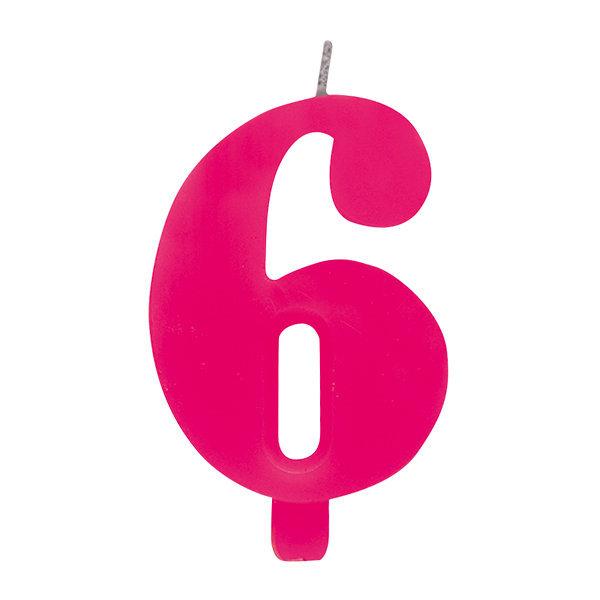 """Candela scintillante numero """"6"""" colore fucsia, alta 9.5cm con supporto"""