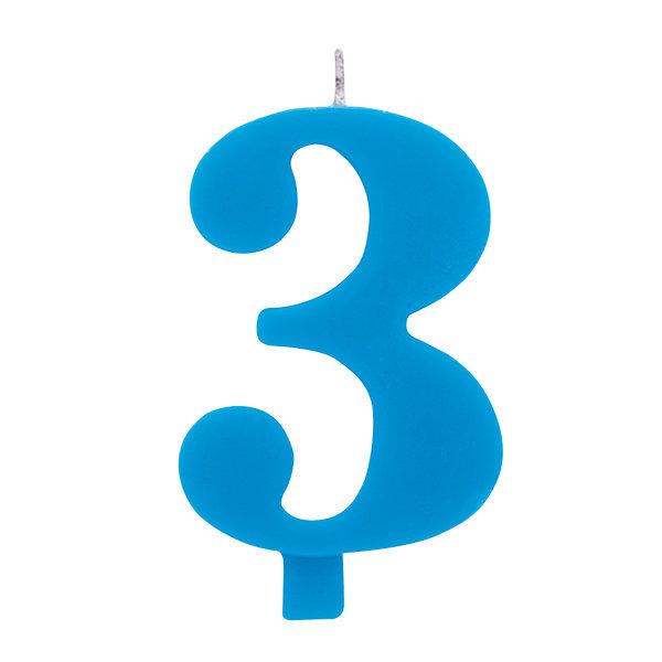 Candela scintillante numero 3 colore turchese, alta 9.5 cm con supporto