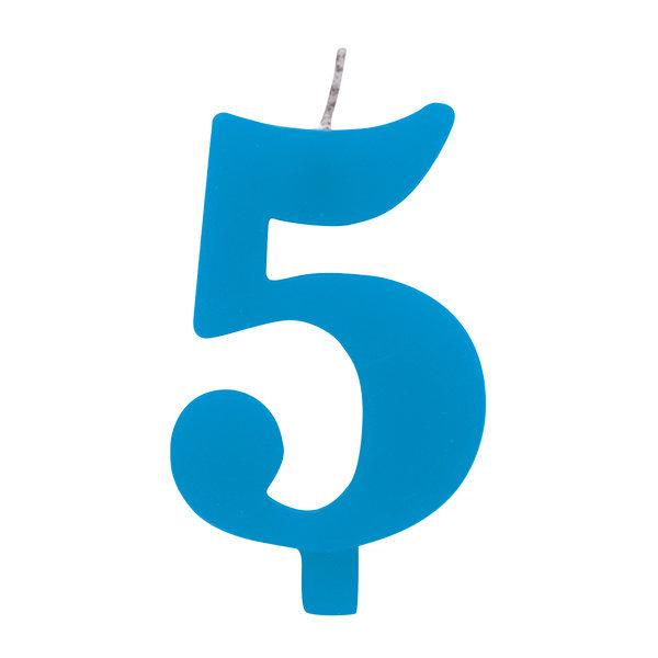 Candela scintillante numero 5 colore turchese, alta 9.5 cm con supporto