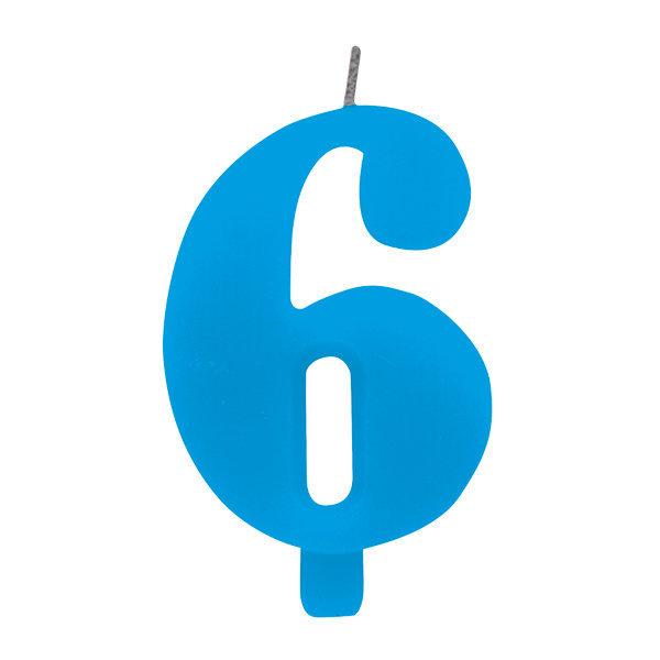 Candela scintillante numero 6 colore turchese, alta 9.5 cm con supporto