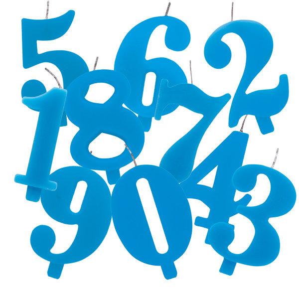 Candela scintillante numero 9 colore turchese, alta 9.5 cm con supporto