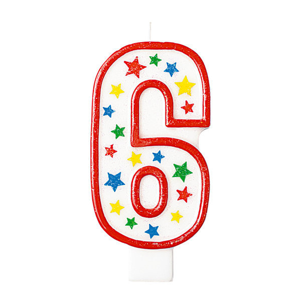 Candela con supporto numero 6, alta 13.5cm glitterata