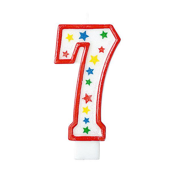 Candela con supporto numero 7, alta 13.5cm glitterata