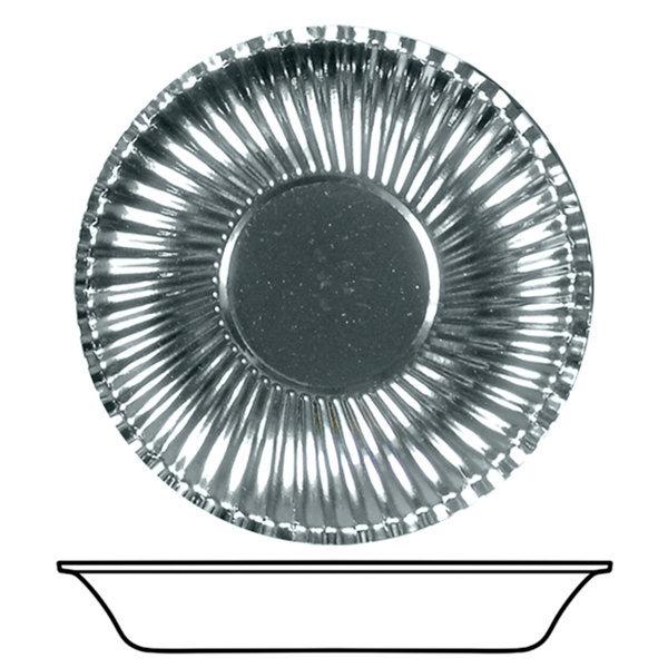 Piatto fondo in cartoncino, diametro 22.5cm color argento metallizzato in confezione da 10 pezzi