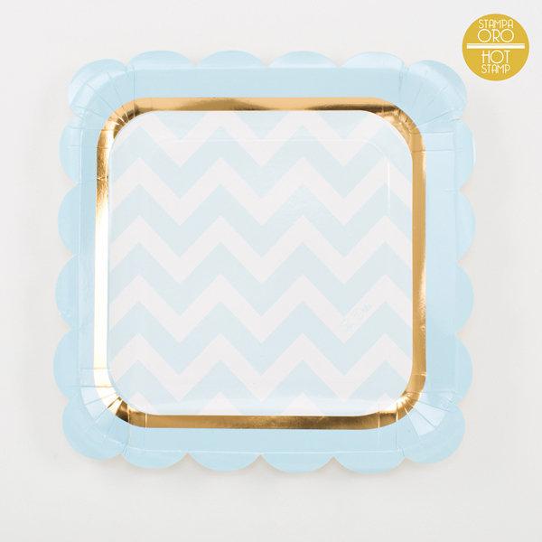 Piatto piano carta 23x23cm baby chic azzurro confezione da 8 pezzi