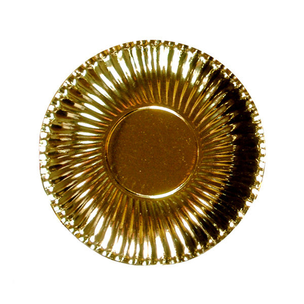 Piatto piano in cartoncino, diametro 18.5cm color oro metallizzato, in confezione da 10 pezzi