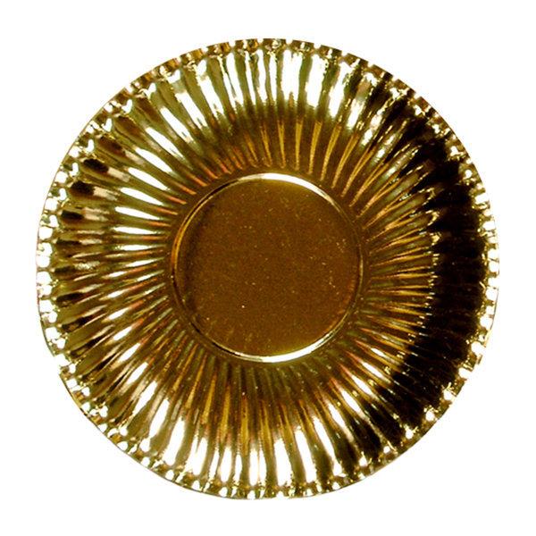 Piatto piano in cartoncino, diametro 23.5 color oro metallizzato, in confezione da 10 pezzi