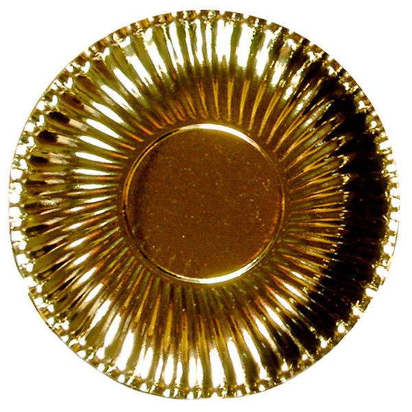 Piatto piano in cartoncino, diametro 29.5cm color oro metallizzato, in confezione da 10 pezzi