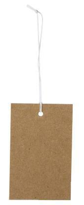 Etichetta tag rettangolare in cartoncino naturale con filo elastico