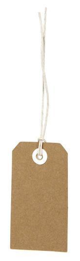 Etichetta tag rettangolare in cartoncino avana  con filo bianco, cm 4.5 x 8, confezione da 48 pezzi