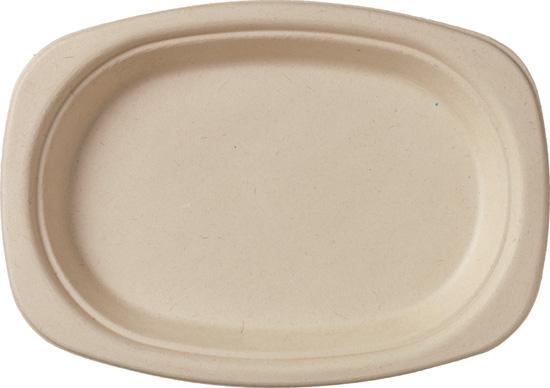 Piatto piano ovale in polpa di cellulosa avana biodegradabile 22cm confezione da 50 pezzi