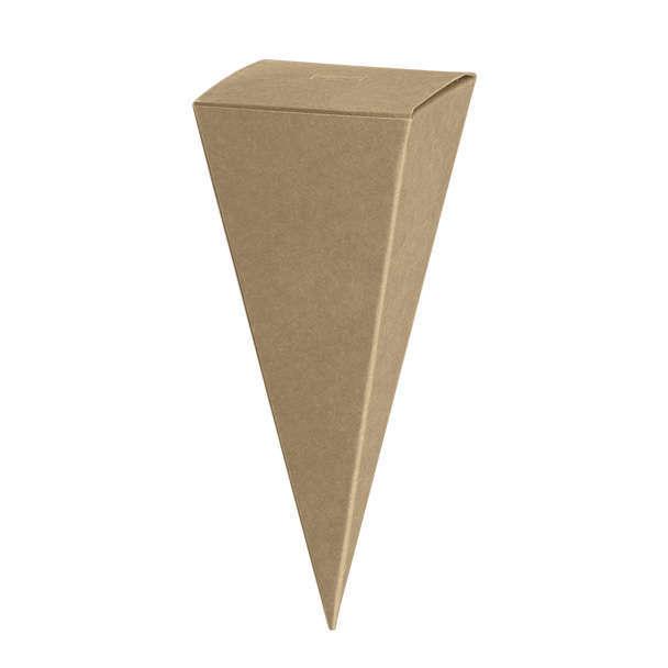 Cono quadrato porta confetti in cartoncino avana, 45x115mm, confezione da 10 pezzi