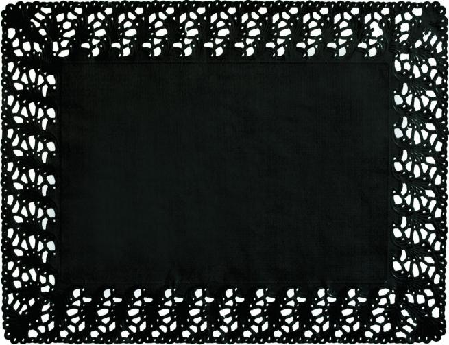 Pizzo carta nero rettangolare 30x40cm confezione da 250 pezzi