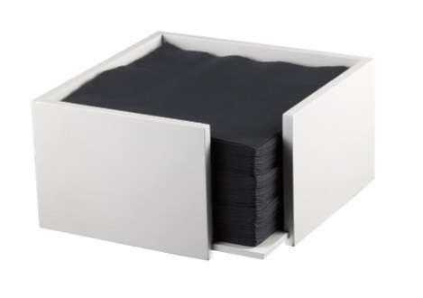 Porta tovaglioli cubico in legno bianco 19x19 h.10 cm