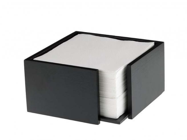 Porta tovaglioli cubico in legno nero 19x19 h.10 cm