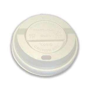 Coperchio in plastica bianca con beccuccio per bicchieri in cartoncino con capienza 12oz confezione da 100 pezzi
